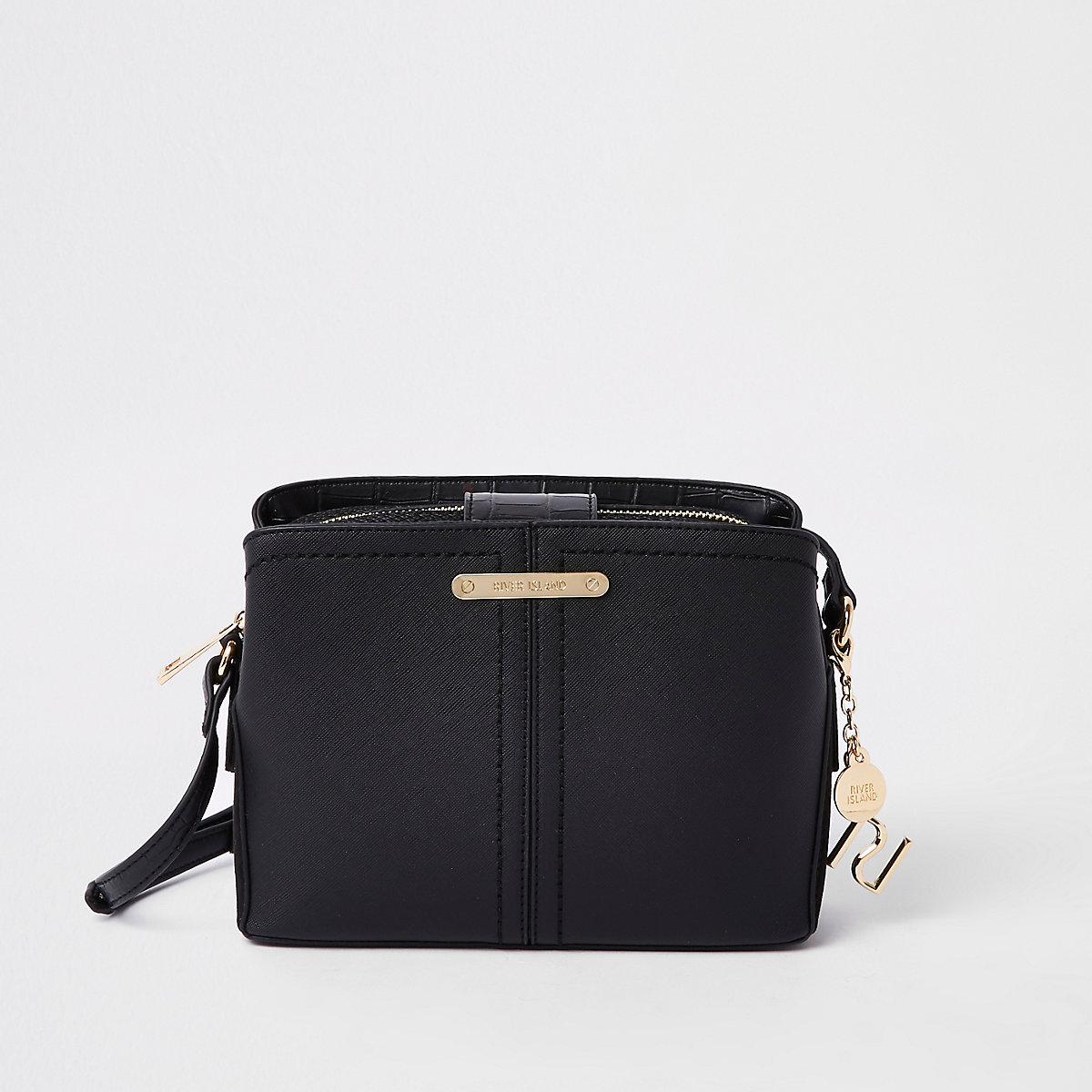 Black open top triple compartment bag