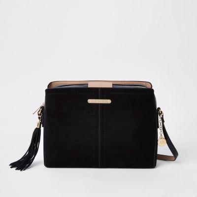 Black Triple Compartment Cross Body Bag Bags Purses Women