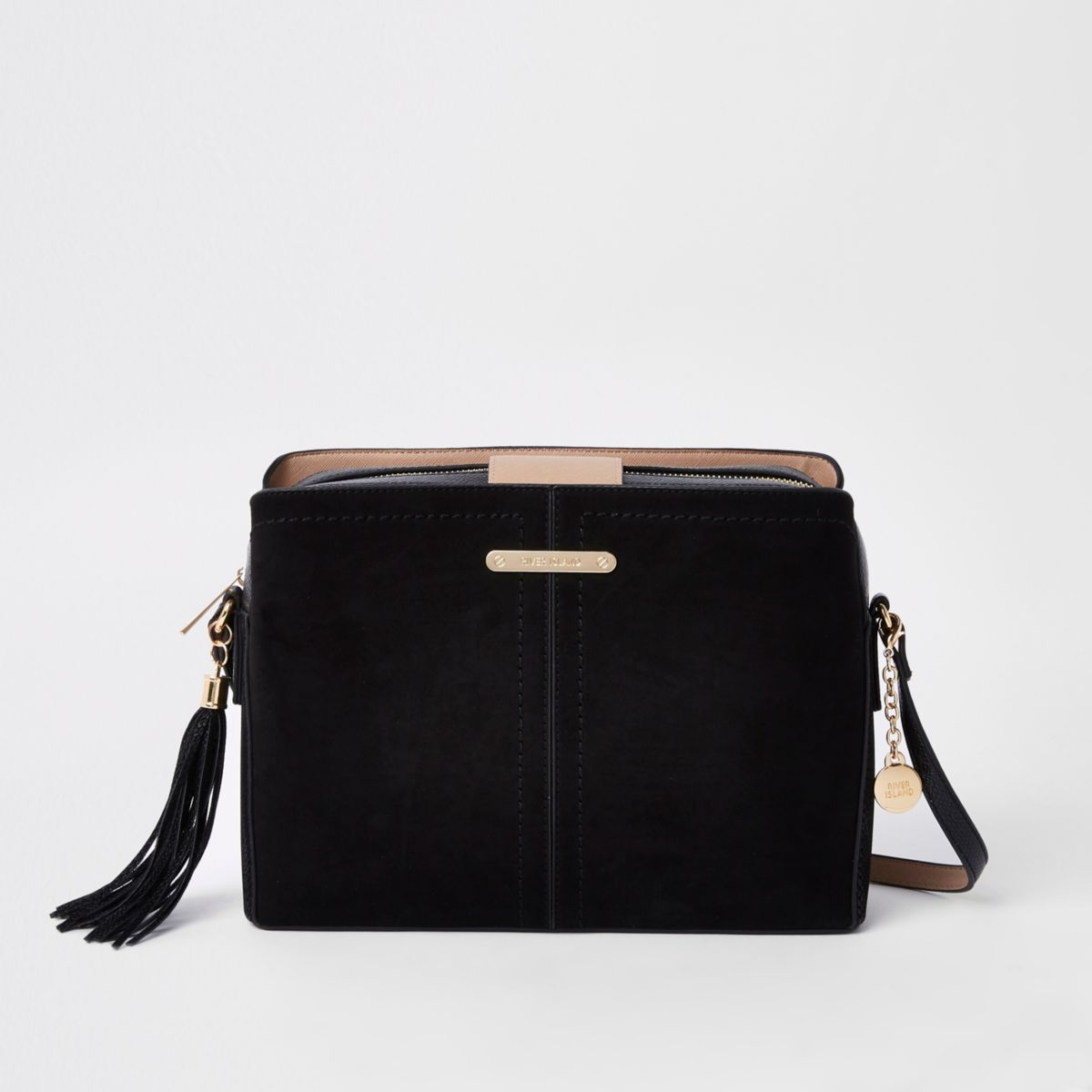 Black contrast bucket cross body bag