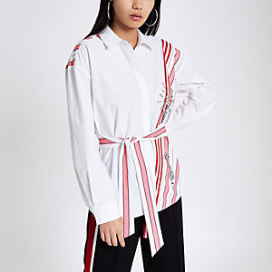 White stripe jewel embellished belted shirt