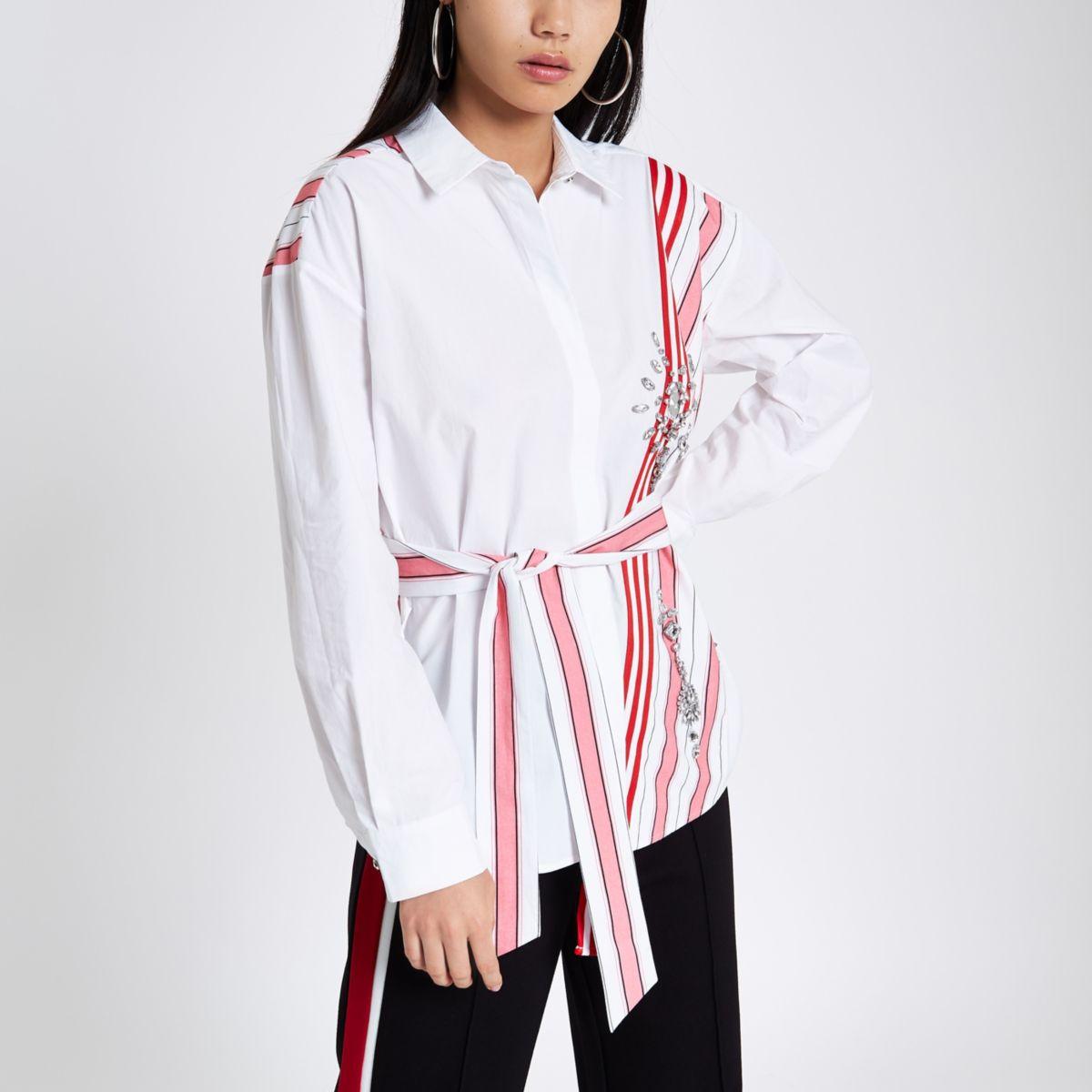 White stripe jewel embellished belted shirt