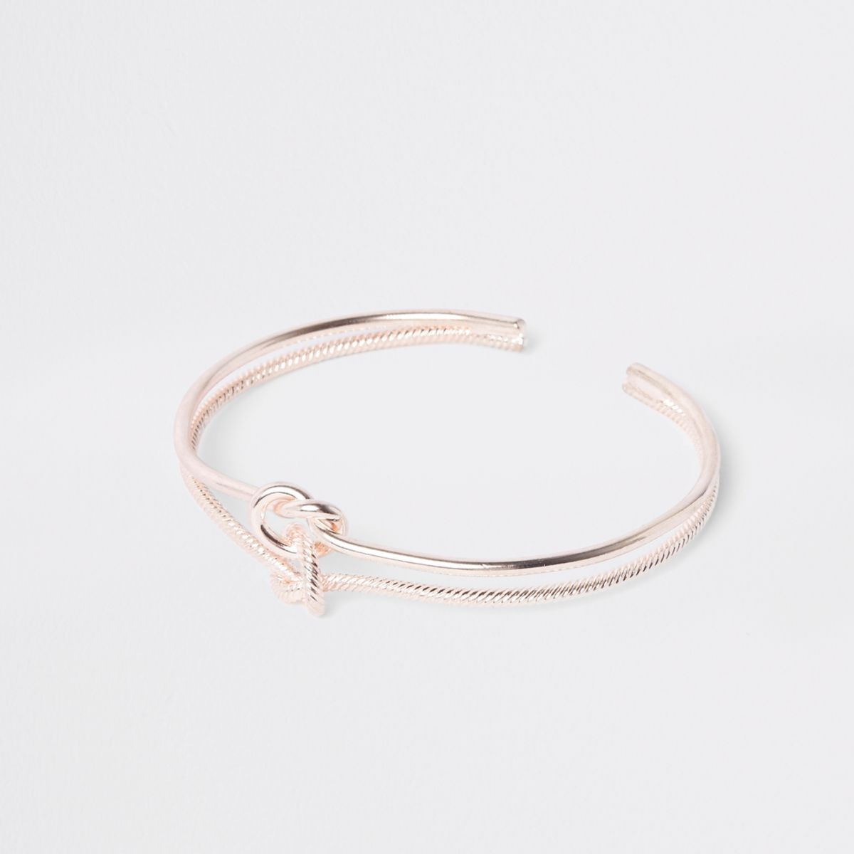 Rose gold double knot cuff bracelet