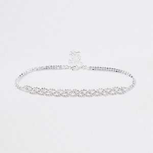 Silver tone diamante loop choker