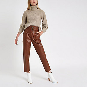 Beige knitted roll neck jumper
