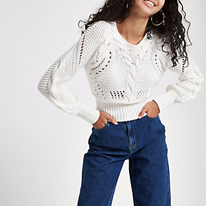 White knit stitch detail long sleeve sweater