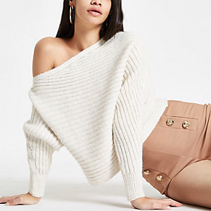 Cream knit asymmetric off shoulder jumper