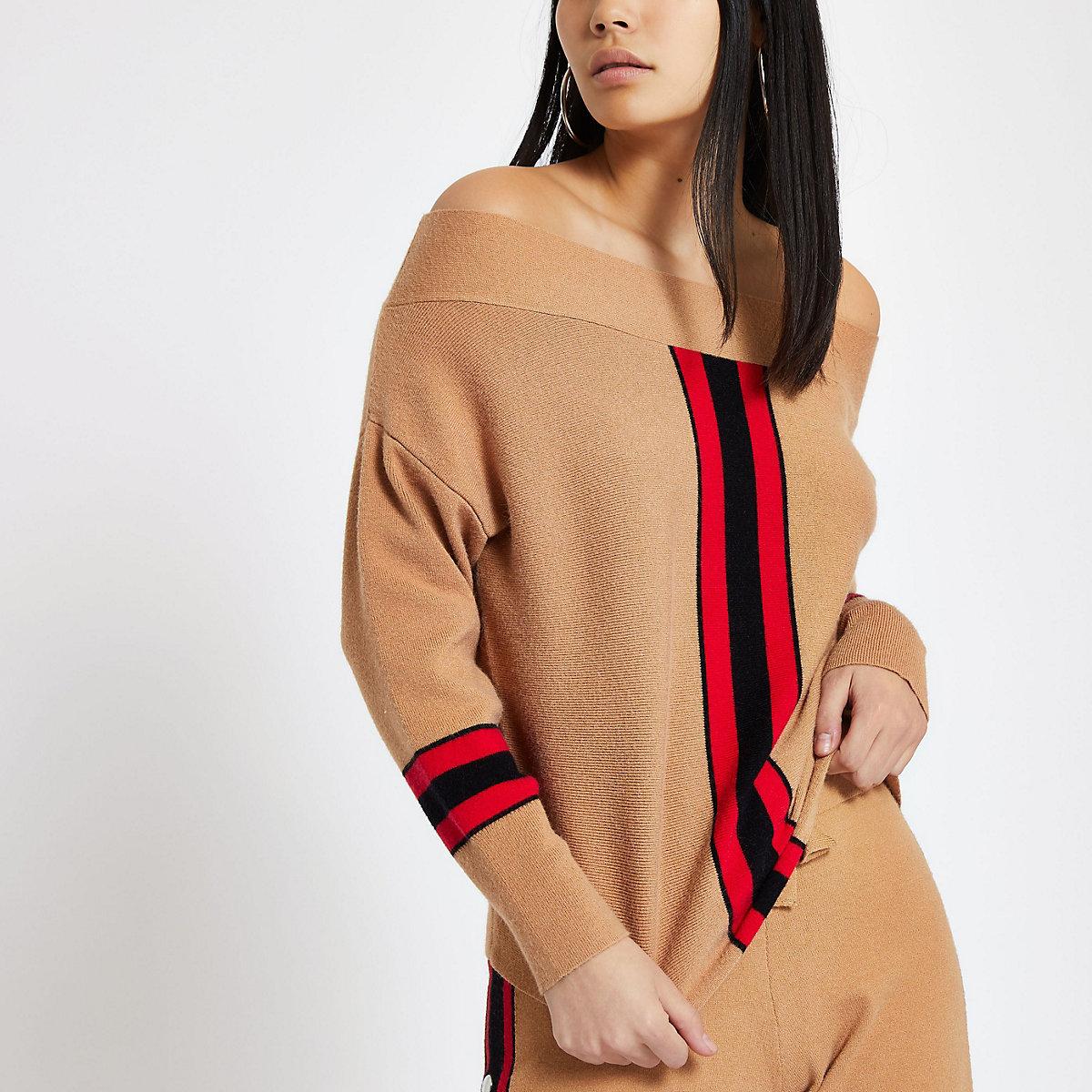 Light brown bardot stripe knit top