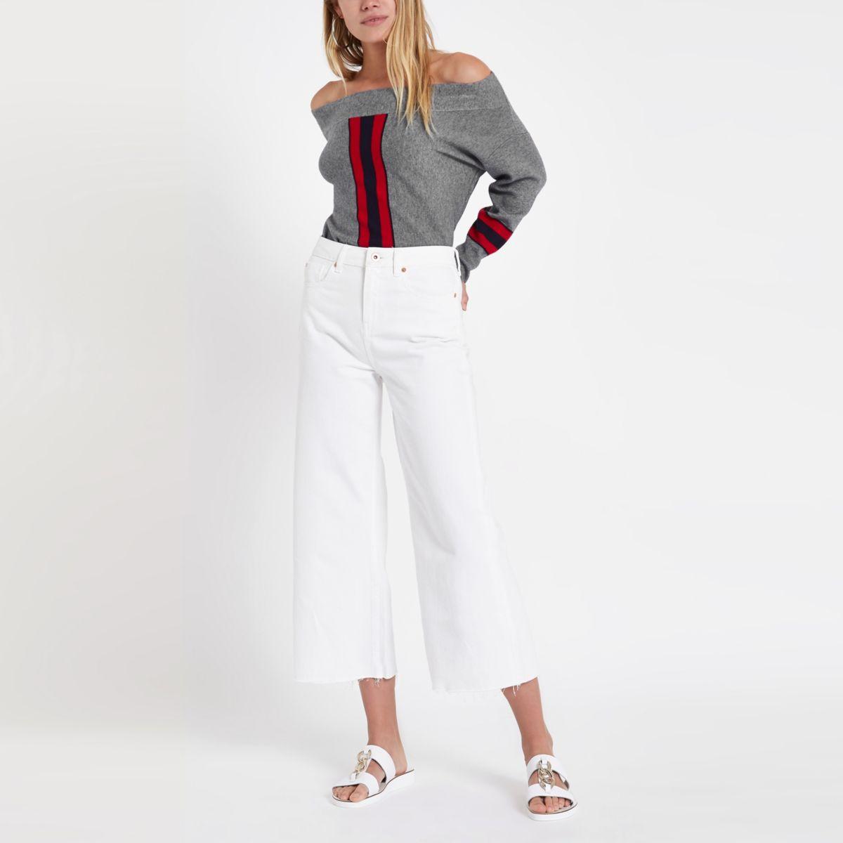 stripe Grey knit top bardot top knit knit top bardot stripe bardot bardot stripe Grey Grey Grey aHAwnq4F