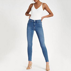 Molly - Middenblauwe jegging met halfhoge taille