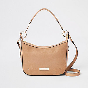 Beige zip detail cross body bag