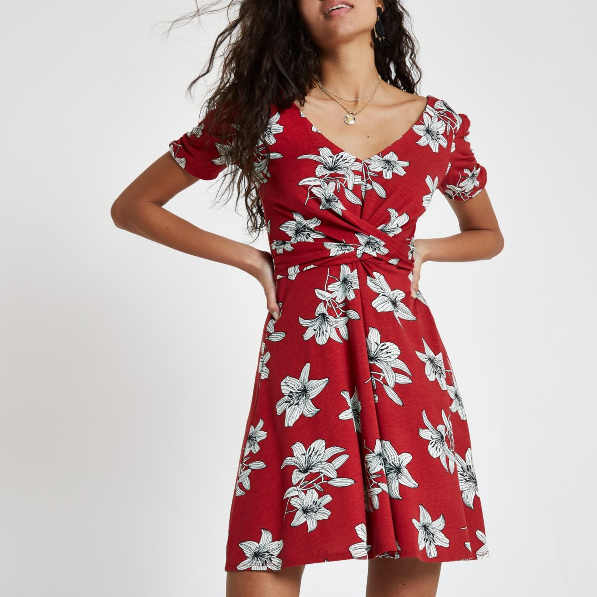 Red floral twist front skater dress