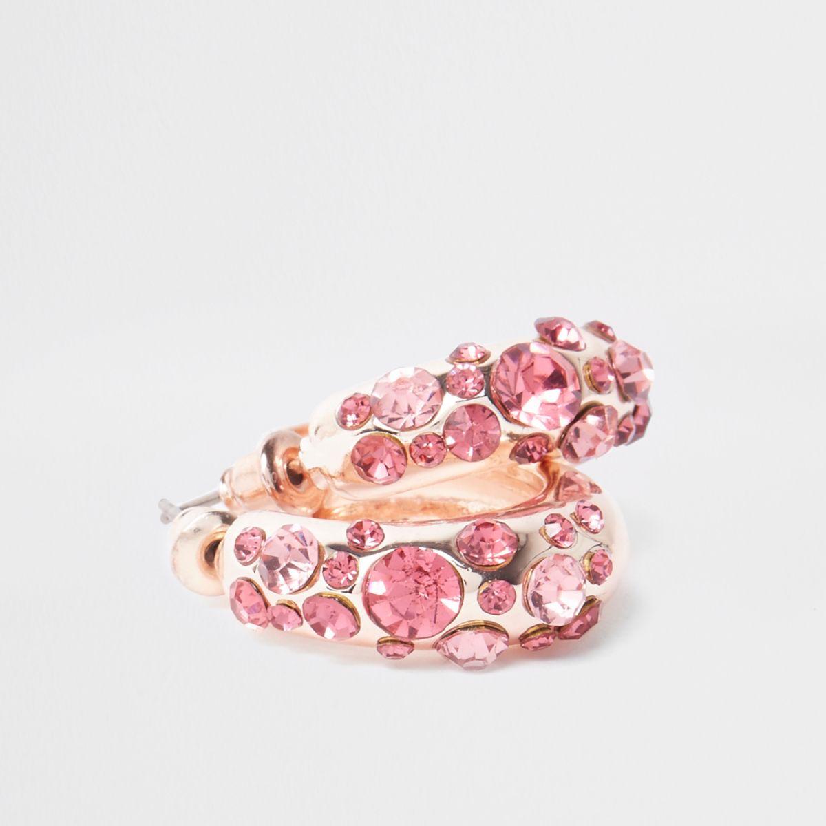 Rose gold tone rhinestone mini hoop earrings - Jewelry - Sale - women