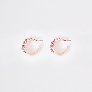Rose gold tone rhinestone mini hoop earrings