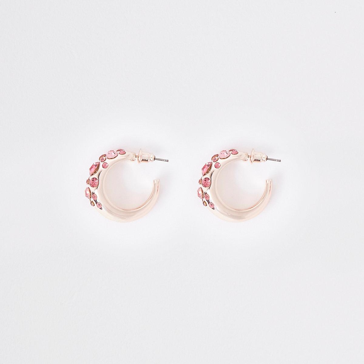 Rose gold tone rhinestone mini hoop earrings