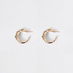 Gold tone diamante mini hoop earrings