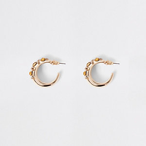 Gold tone rhinestone mini hoop earrings