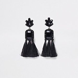 Black rectangle jewel tassel clip on earrings