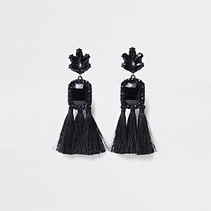 Boucles d'oreilles clip noires à pierre rectangulaire et pampille