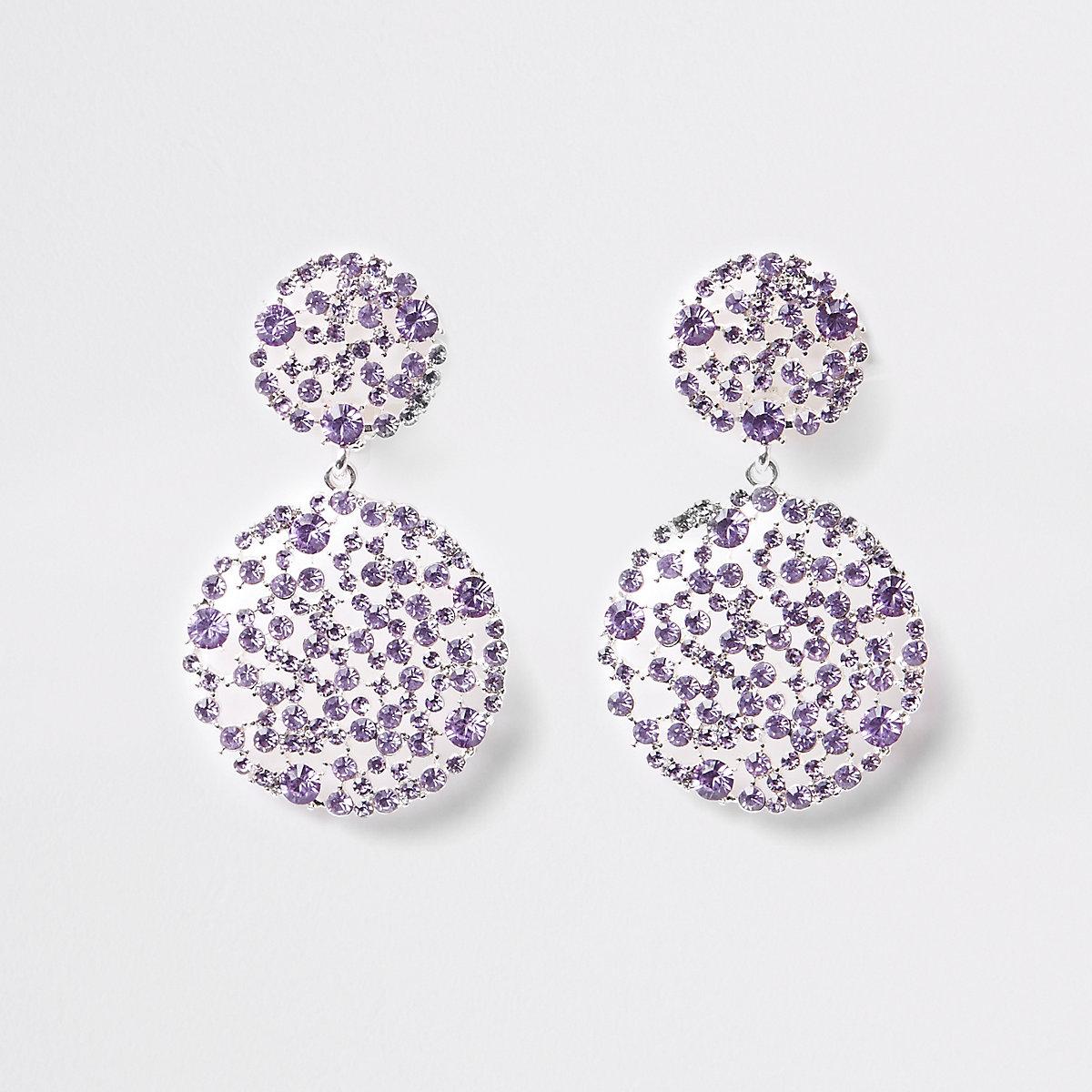 Light purple diamante clip on drop earrings
