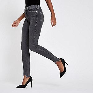 Amelie – Graue Super Skinny Jeans