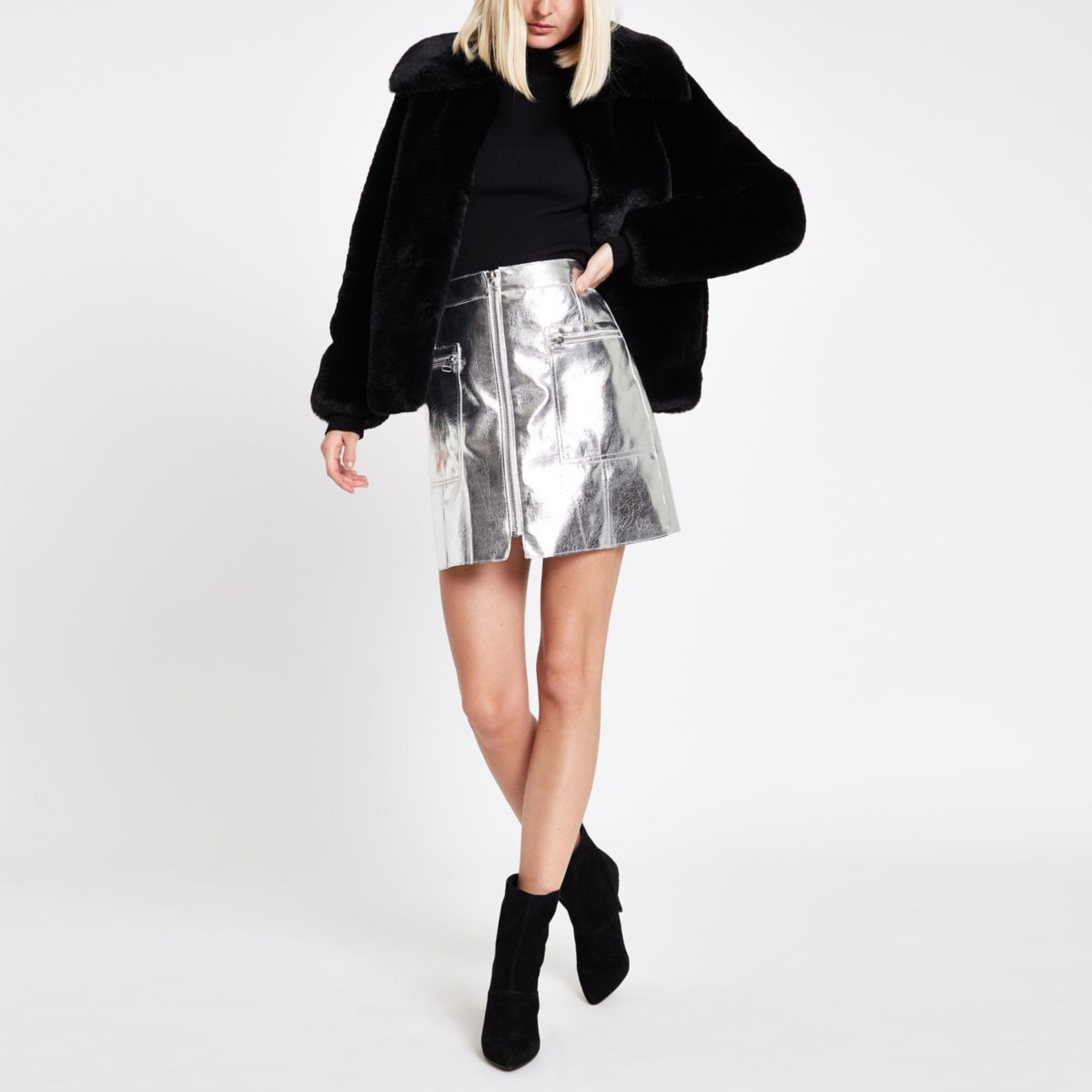 Silver metallic biker mini skirt