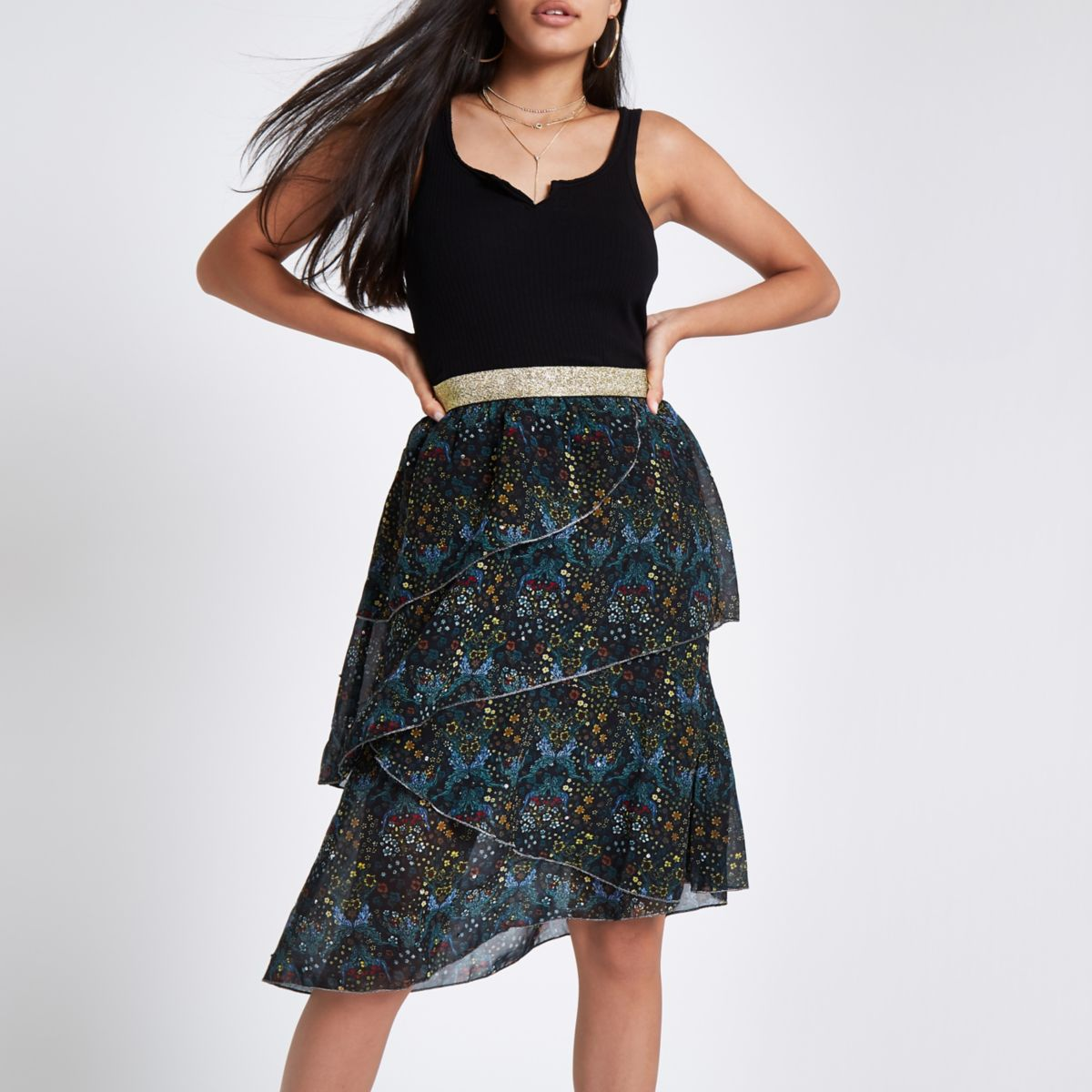 Green floral frill tiered midi skirt
