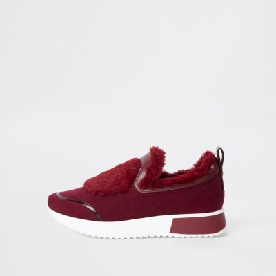 Dark Red Faux Fur Slip On Runner Trainers by River Island