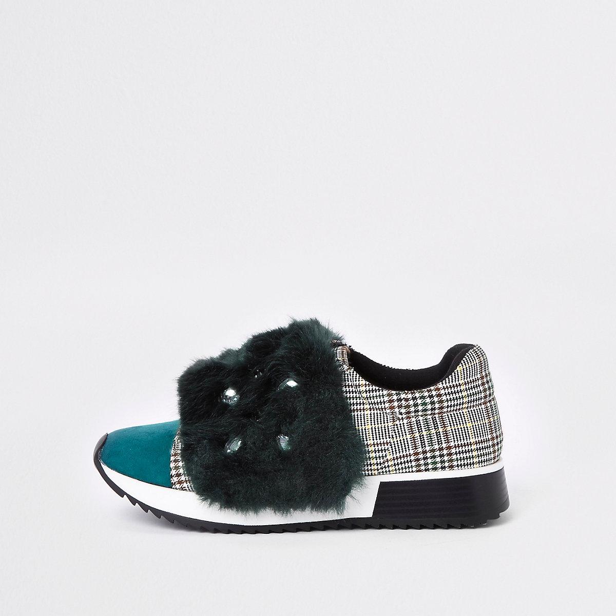 Green faux fur jewel embellished sneakers