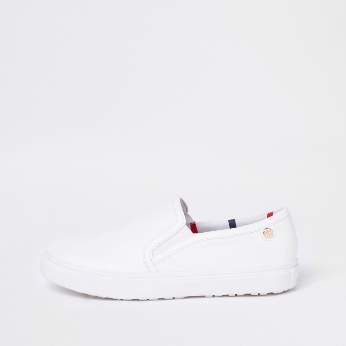 White scallop edge slip on plimsolls