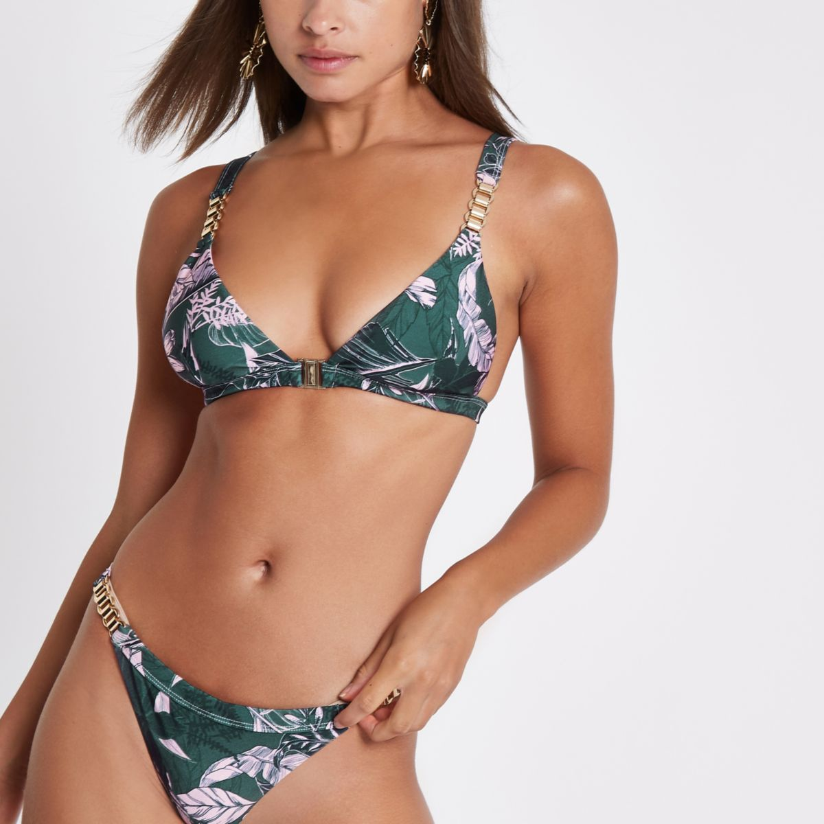 Green floral chain trim triangle bikini top