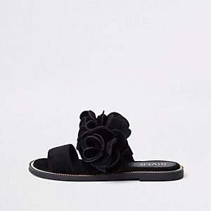 Black 3D flower double strap sandal