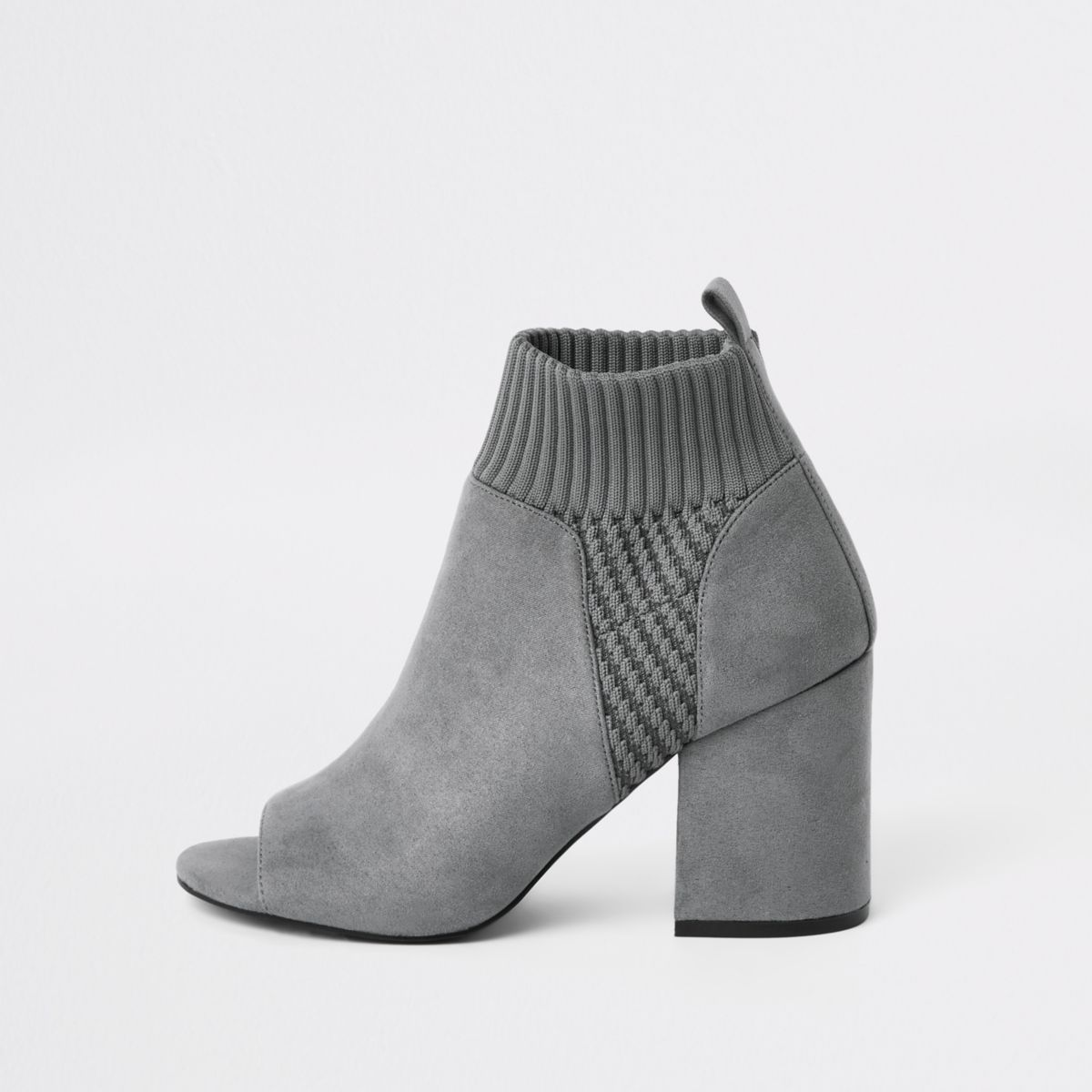 Grey knitted block heel shoe boots