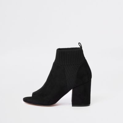 Black Knitted Shoe Boots by River Island