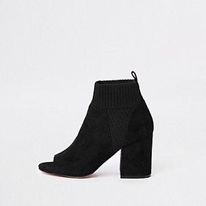 Schwarze, gestrickte Shoe Boots
