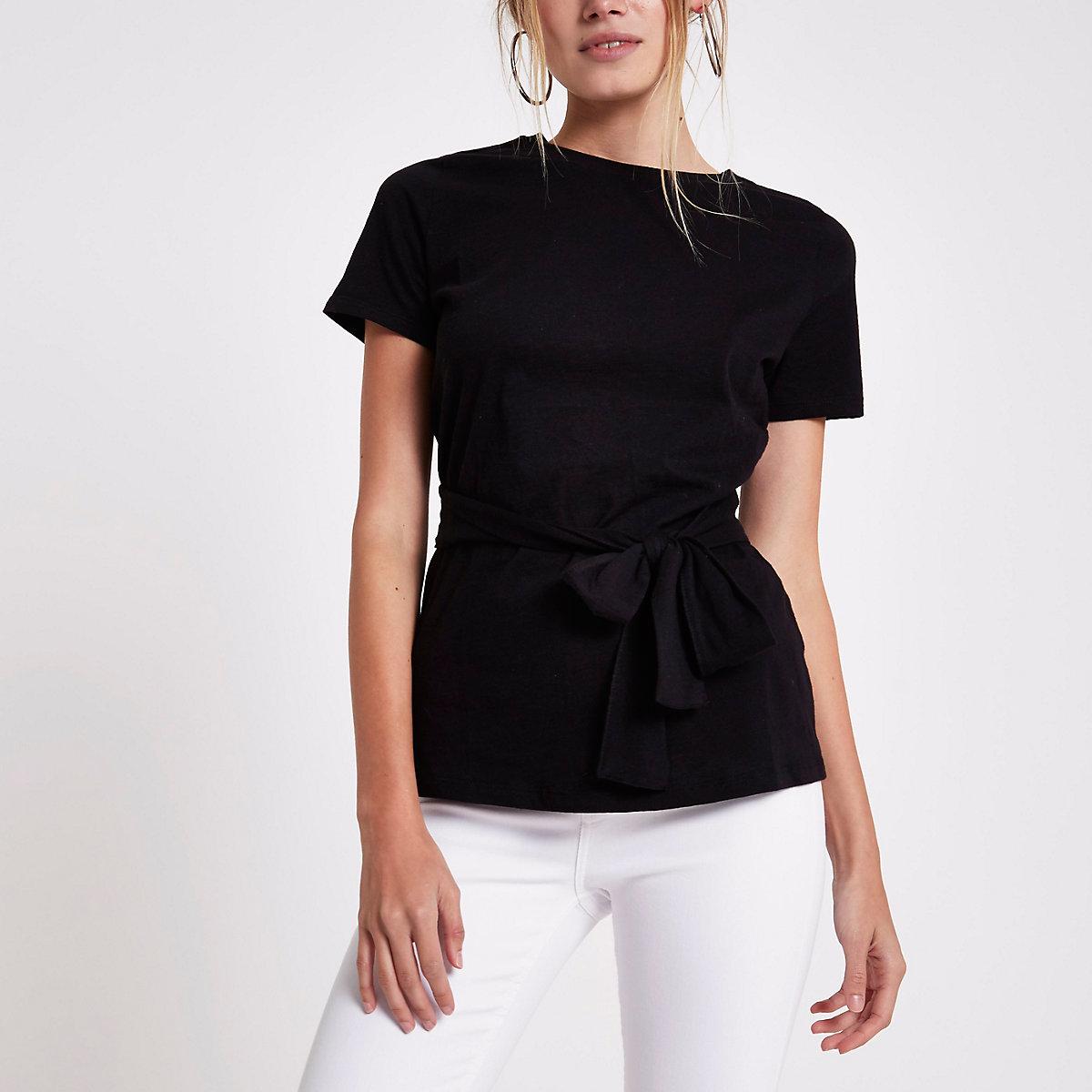 Zwart aansluitend T-shirt met strik voor