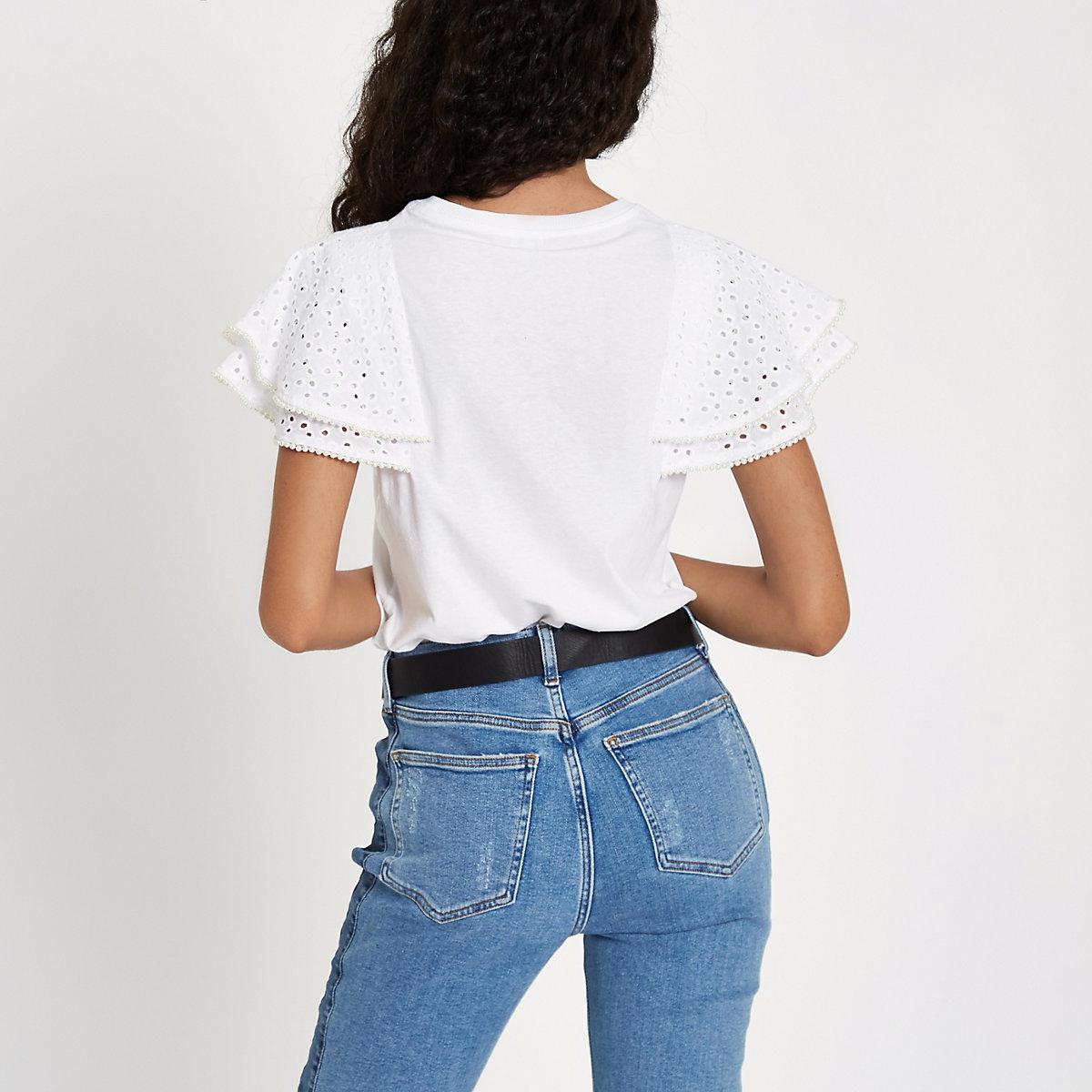 Broiderie Femme Shirt Tops T White Chemises Fw7SvxS6