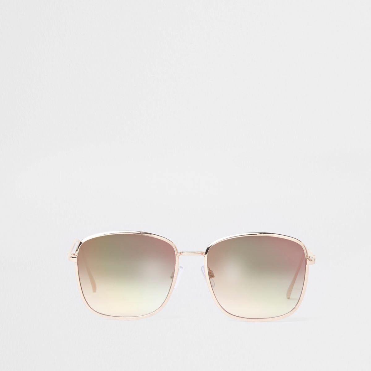 Gold tone pink lens square aviator sunglasses