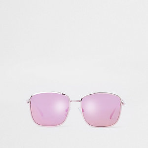 Pink square aviator sunglasses