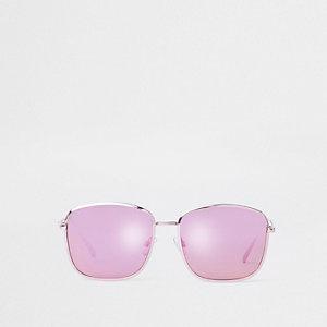 Pilotenzonnebril met vierkante roze glazen