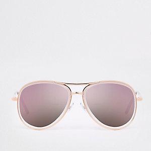 Lunettes de soleil aviateur dorées à verres lilas