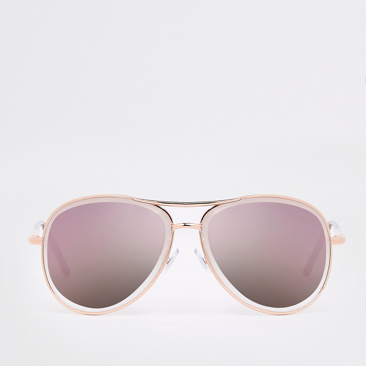 Gold tone lilac lens aviator sunglasses