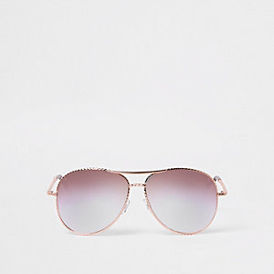 Lunettes de soleil aviateur or rose torsadées à verres lilas