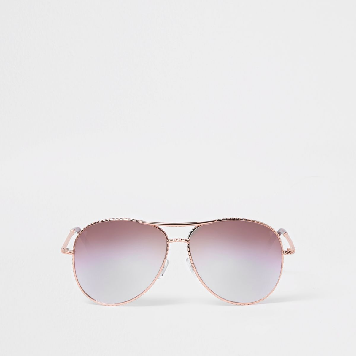 Rose gold twist lilac lens aviator sunglasses