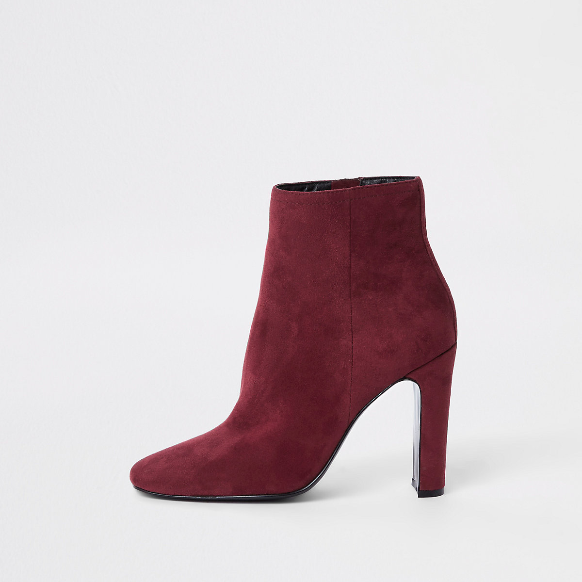 Red square toe ankle boots