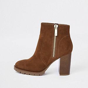Brown suede side zip block heel ankle boots