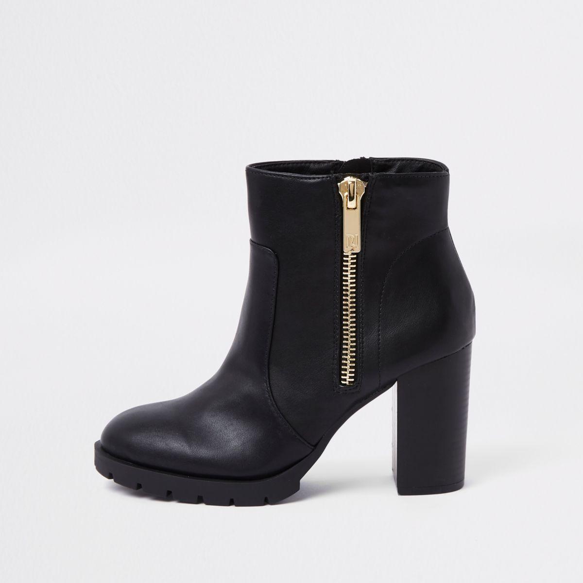 Black chunky side zip block heel ankle boots