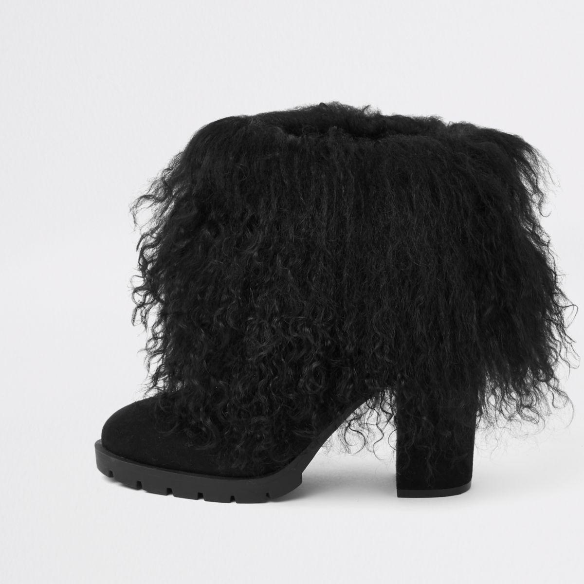 Black Mongolian fur cuff block heel boots