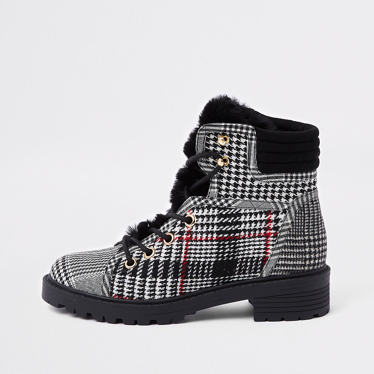 Grey check faux fur tongue hikng boots