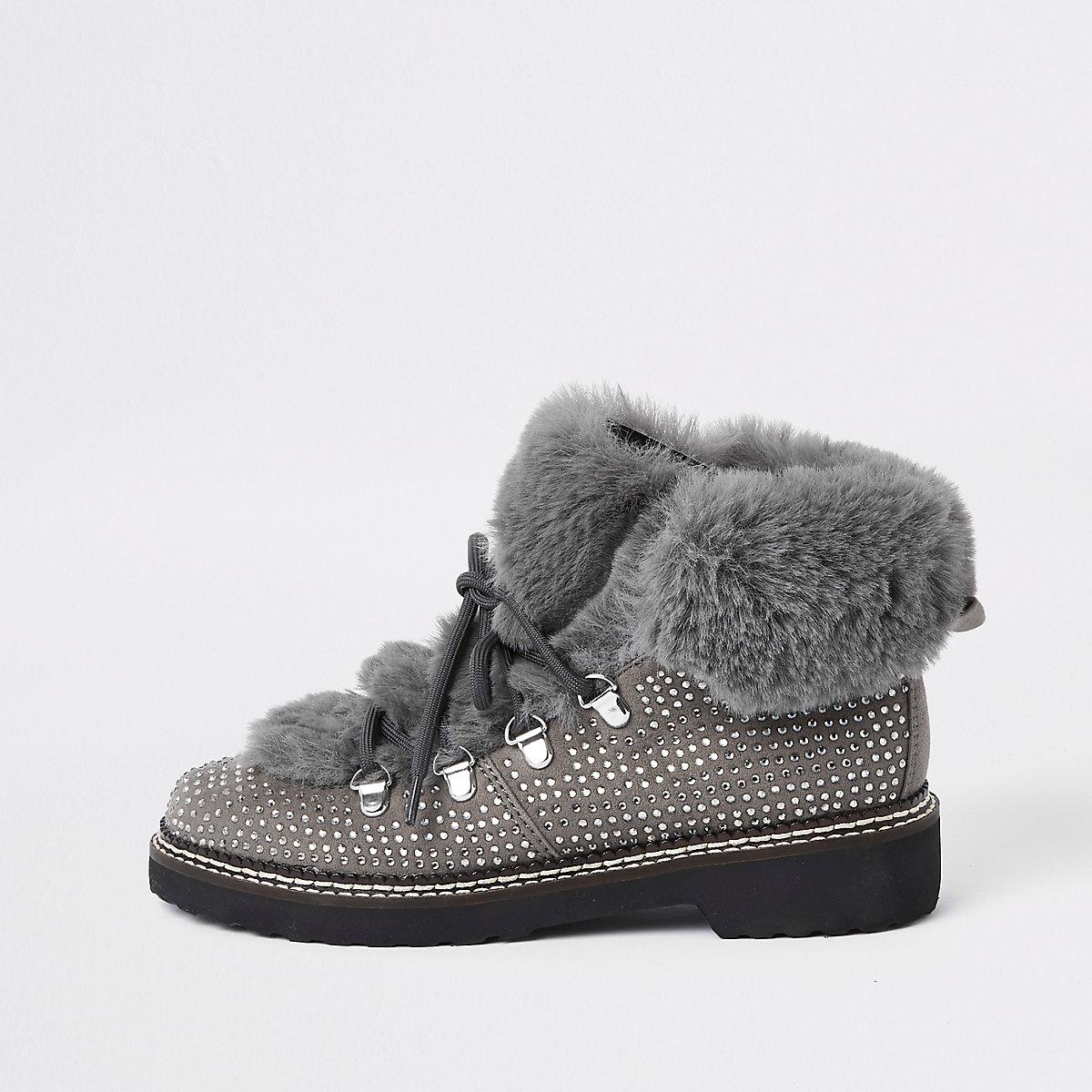 Grey check faux fur tri boots