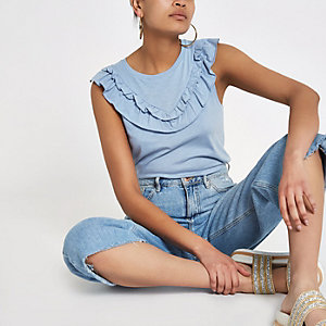 Blue frill bib sleeveless T-shirt